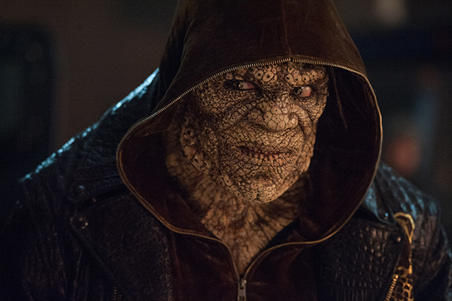 "Adewale Akinnuoye-Agabje stars as the ""crocodilian, reptilian black man"" Killer Croc in Suicide Squad."