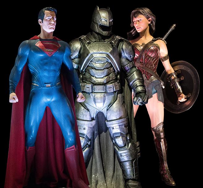 see the actual costumes of superman, batman and wonder woman as part of the dc universe exhibit on the warner bros studio tour hollywood starting on may 24