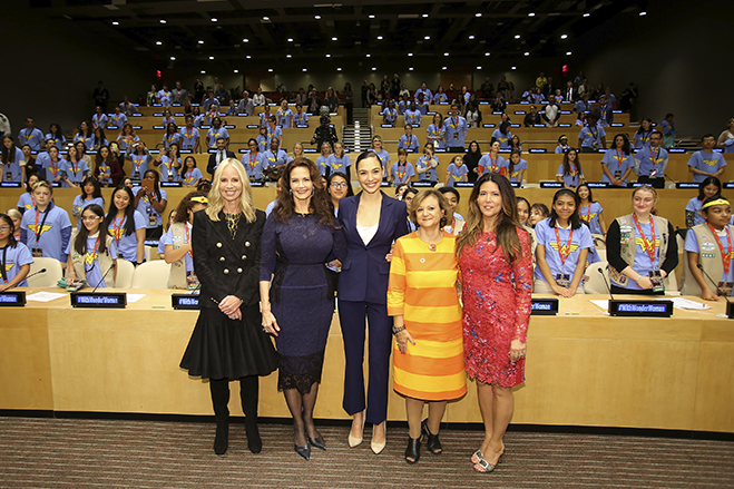 Pictured (L-R) are: Diane Nelson, Lynda Carter, Gal Gadot, Under Secretary General Cristina Gallach and Patty Jenkins.