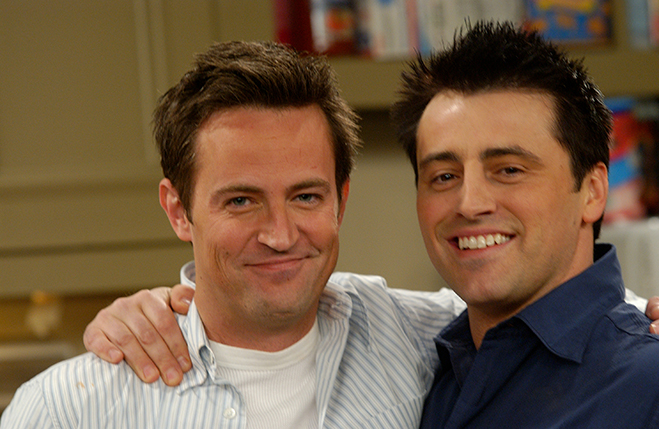 Medium publicity shot of Matthew Perry as Chandler and Matt LeBlanc as Joey.