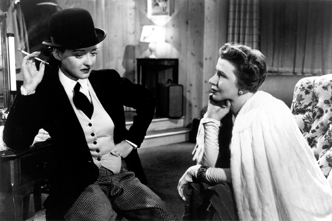 Bette Davis in riding apparel and Cora Witherspoon in Dark Victory