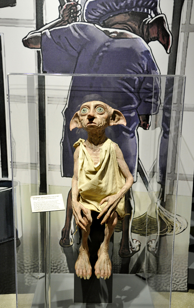 dobby from the harry potter films is now on display during your visit to the warner bros. studio tour hollywood