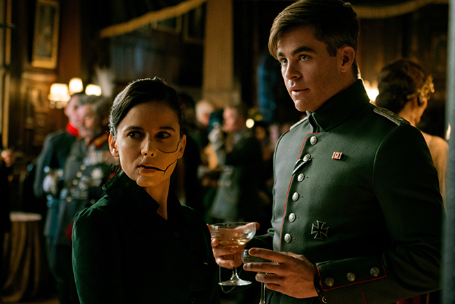 Elena Anaya as Doctor Maru (aka Doctor Poison) and Chris Pine as Steve Trevor.