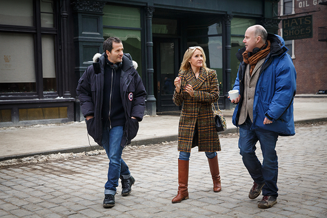 Producer David Heyman, writer/creator J.K. Rowling and director David Yates on the lot during the filming of Fantastic Beasts and Where to Find Them.