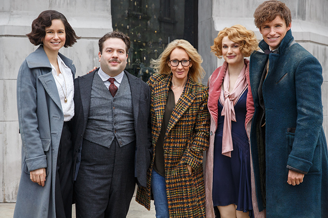 KATHERINE WATERSTON, DAN FOGLER, screenwriter/producer J.K. ROWLING, ALISON SUDOL and EDDIE REDMAYNE on the set