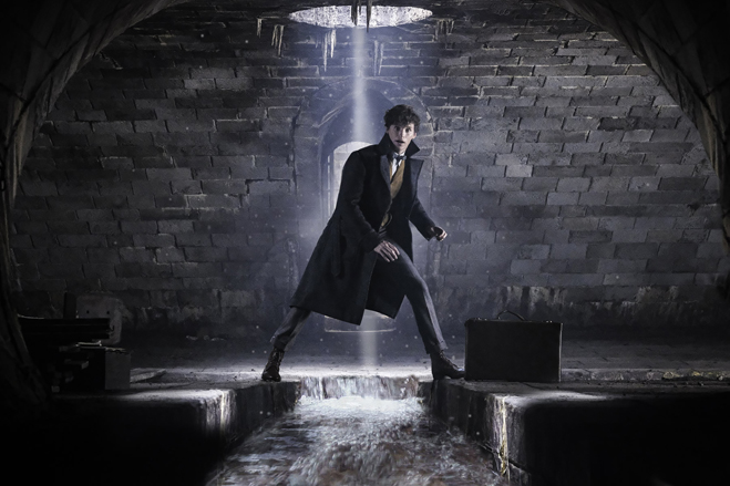 Eddie Redmayne as Newt Scamander standing on stones, straddling a flooding stream