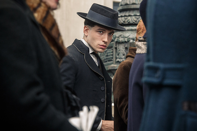 "Ezra Miller as Credence, ""a kid who hasn't been loved or seen or cherished for who he is."""