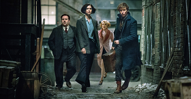 Dan Foger as Jacob Kowalski, Katherine Waterston as Tina Goldstein, Alison Sudol as Queenie Goldstein and Eddie Redmayne as Newt Scamanger make up the nucleus of friends in this new wizarding world.