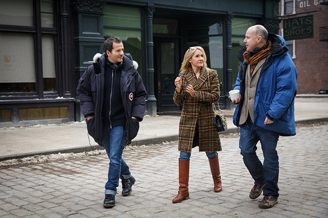 The wizarding world brain trust of producer David Heyman, J.K. Rowling and director David Yates on the set of Fantastic Beasts and Where to Find Them.