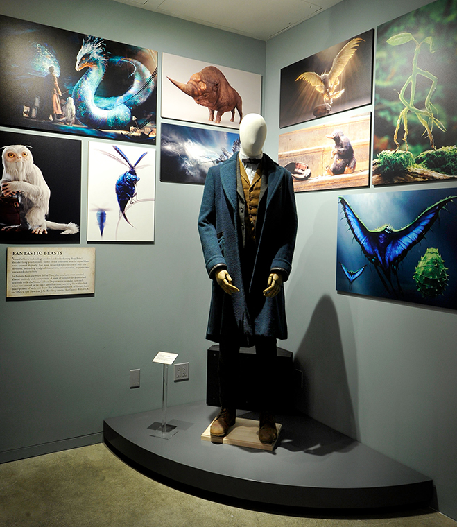 character costumes like newt's from fantastic beasts are on display at the new warner bros. studio tour hollywood exhibit