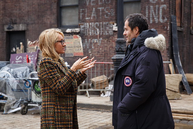 J.K. Rowling and producer David Heyman on the set of Fantastic Beasts and Where to Find Them.