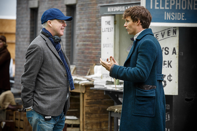 Director David Yates and star Eddie Redmayne have a chat on the set.