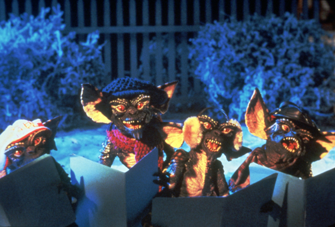 Gremlins singing Christmas carols