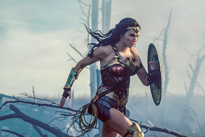 Gal Gadot in her full transformation into the ultimate female superhero.