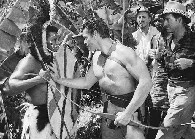 gordon scott as tarzan and future tarzan jock mahoney in 1960's tarzan the magnificent