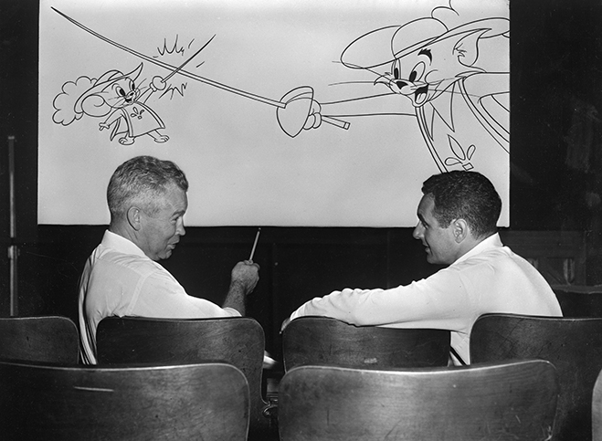 William Hanna and Joseph Barbera discuss 1952's The Two Mouseketeers, which would go on to win the sixth of seven Academy Awards for Tom and Jerry.