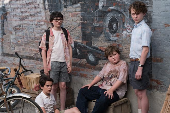 "ACK DYLAN GRAZER as Eddie Kaspbrak, FINN WOLFHARD as Richie Tozier, JEREMY RAY TAYLOR as Ben Hanscom and WYATT OLEFF as Stanley Uris in New Line Cinema's horror thriller ""IT,"" a Warner Bros. Pictures release."