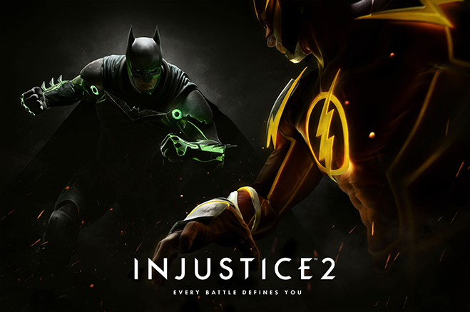 Batman battling The Flash in Injustice 2