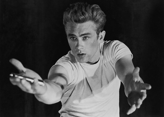 james dean pictured in this publicity photo for arguably the most famous of his three classic films, Rebel Without a Cause.