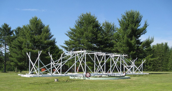 "A full size replica of Jansky's rotating telescope (or as it came to be known ""Janksy's merry-go-round"") is located at the National Radio Astronomy Observatory in West Virginia."