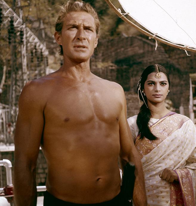 jock mahoney and the beautiful simi garewal in 1962's Tarzan goes to india