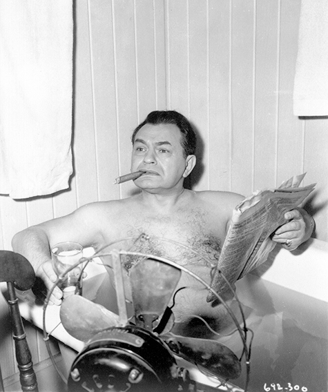 Edward G. Robinson as gangster Johnny Rocco cools down in the tub