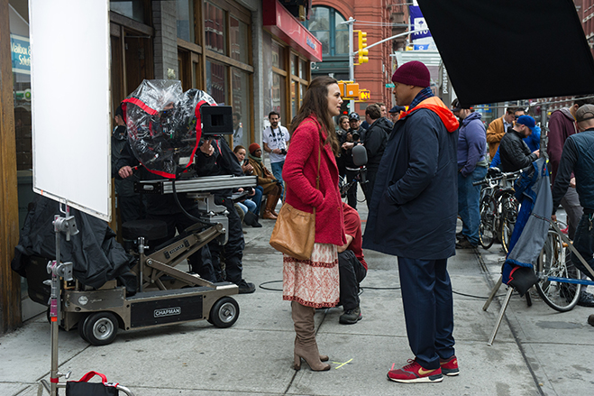 keira knightley and will smith on the set of collateral beauty