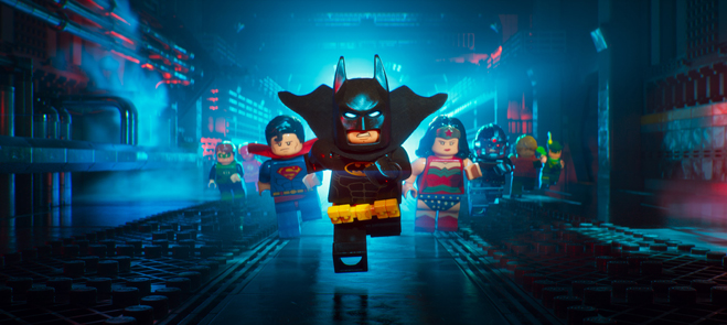 LEGO Batman characters running straight ahead