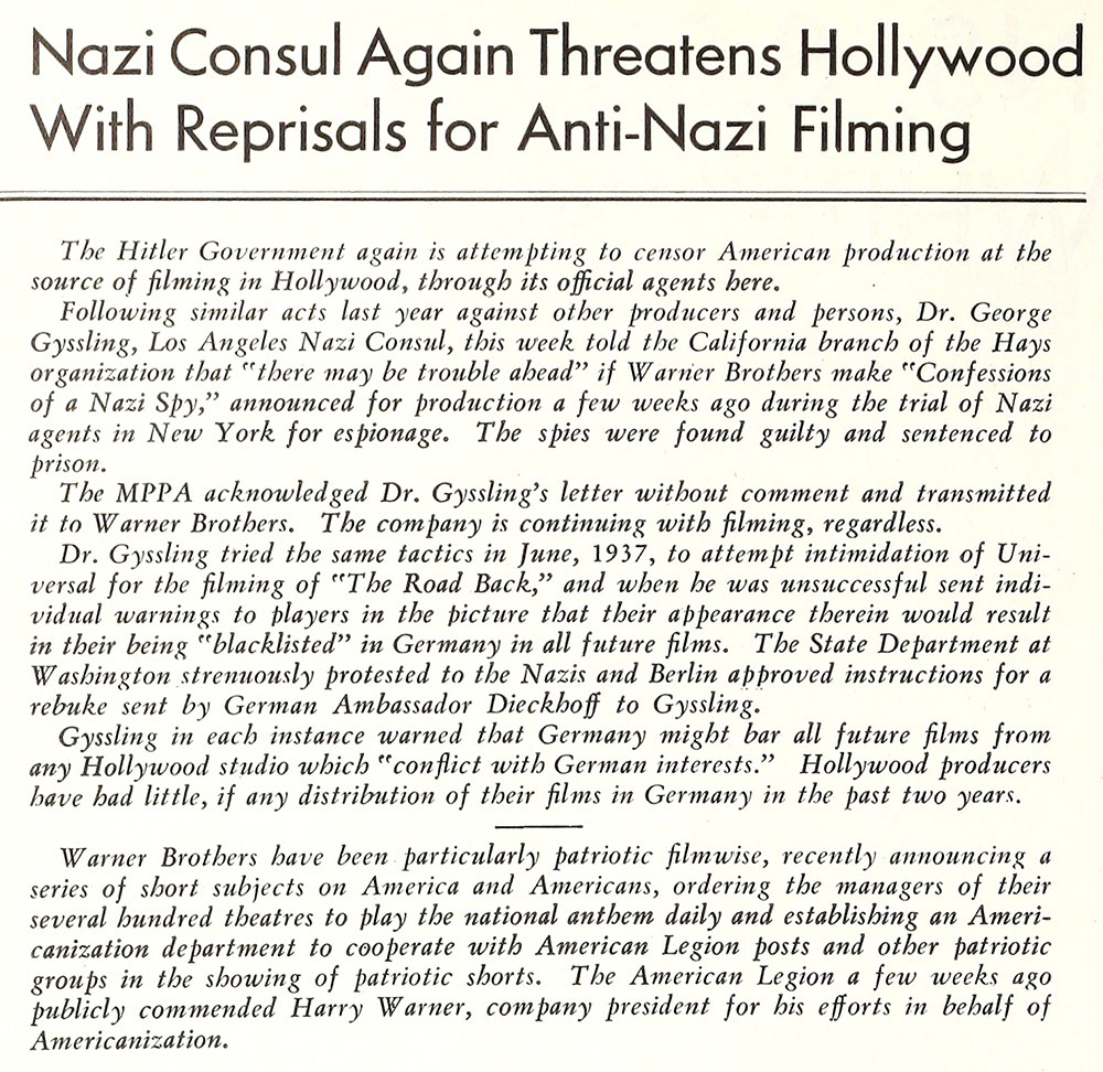 Confessions of a Nazi Spy - the script received approval from the Hays Office