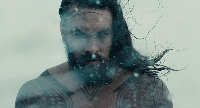 Jason Momoa as Aquaman in Justice League. His solo film is coming in 2018.