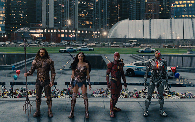 Jason Momoa as Aquaman, Gal Gadot as Wonder Woman, Ezra Miller as The Flash and Ray Fisher as Cyborg.