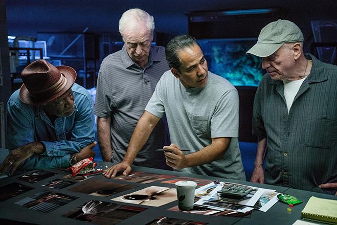 Morgan Freeman, Michael Caine, John Ortiz and Alan Arkin in a scene from Going in Style.