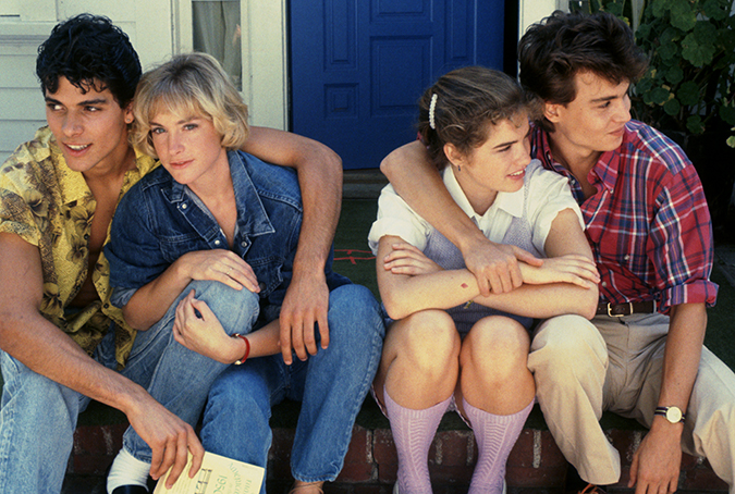 Nick Corri as Rod Lane, Amanda Wyss as Tina Gray, Heather Langenkamp as Nancy Thompson and Johnny Depp as Glen Lantz.