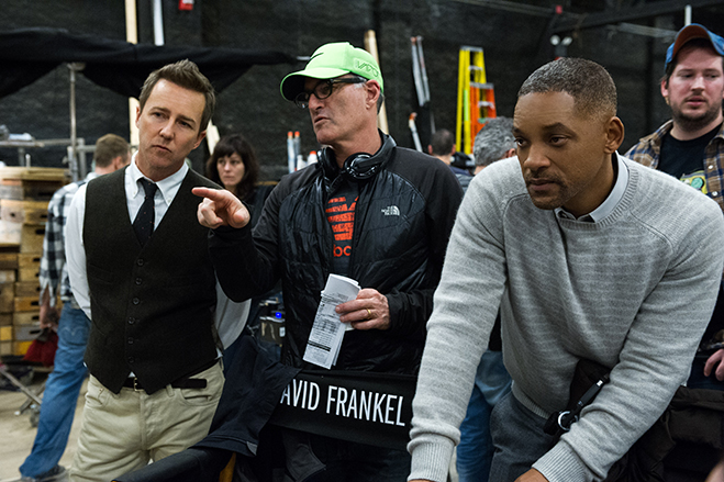 edward norton, director david frankel and will smith analyze a scene on the set of collateral beauty