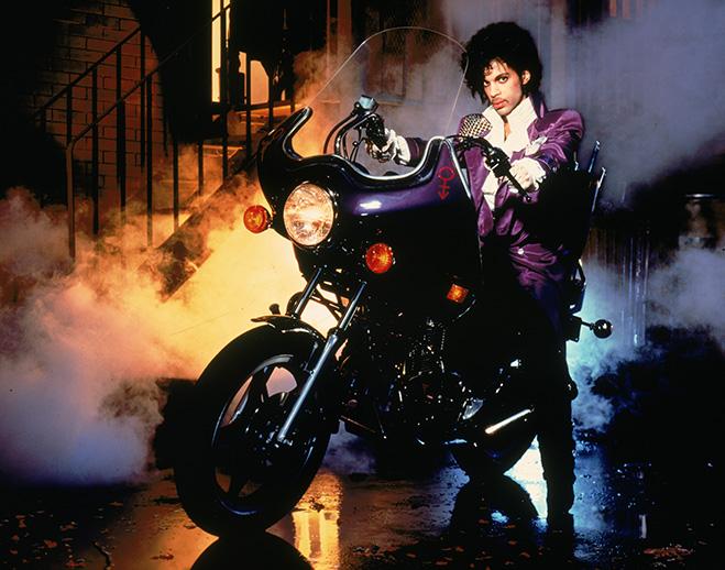 Purple Rain: Prince on purple motorcycle
