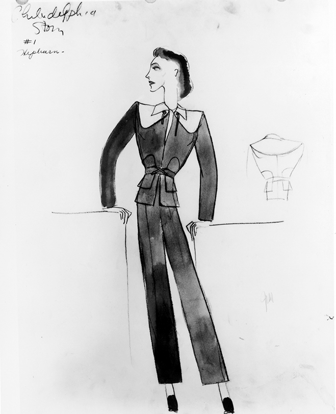 original sketch of katharine hepburn's pant suit, somewhat controversial for the era.