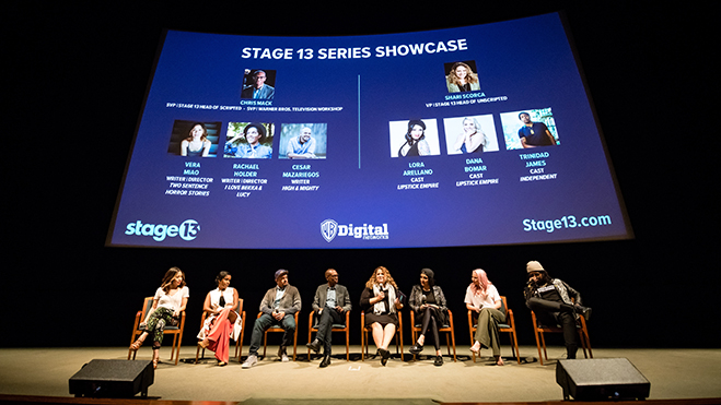 """Vera Miao, creator/writer/director """"Two Sentence Horror Stories"""" Rachael Holder, creator/writer/director, """"I Love Bekka & Lucy"""" Cesar Mazariegos, creator/writer of """"High & Mighty"""" Christopher Mack, VP of Scripted content, Stage 13 and SVP Warner Bros. Tel"""