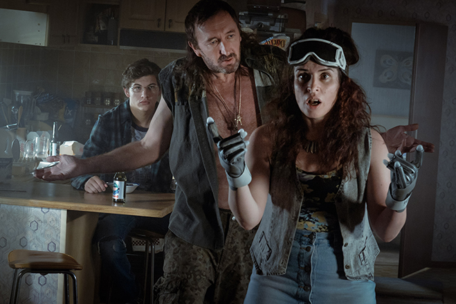 TYE SHERIDAN as Wade, RALPH INESON as Rick and SUSAN LYNCH as Alice in Ready Player One.