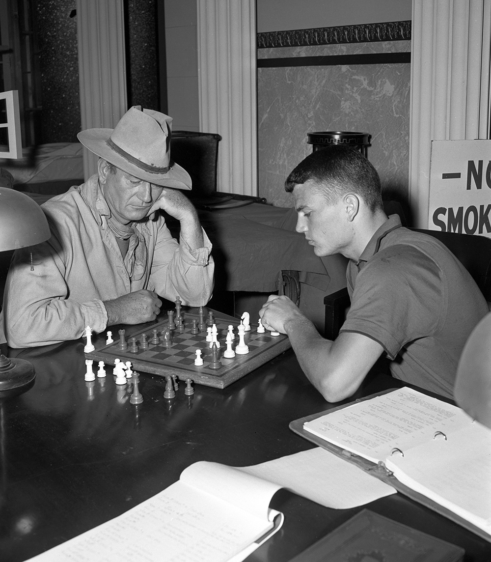 Rio Bravo John Wayne and son Patrick Wayne also engage in a chess match