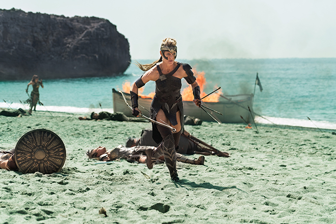 Robin Wright races into battle as General Antiope.