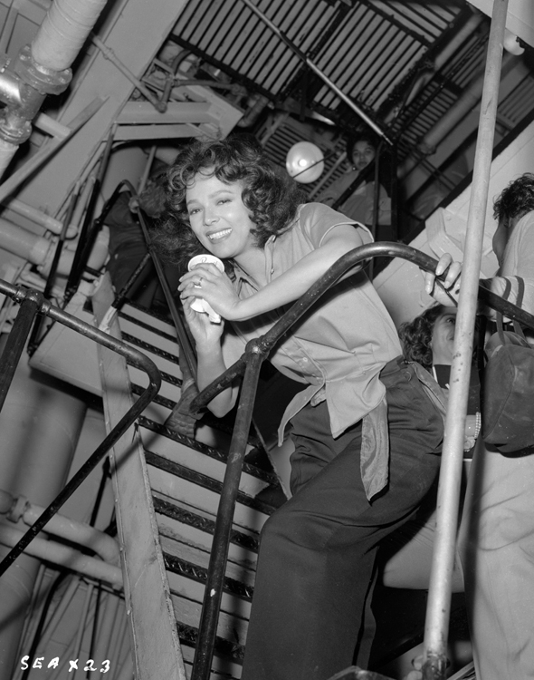 Dorothy Dandridge looks down from a staircase