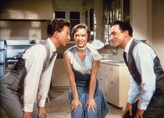 "donald o'connor, debbie reynolds and gene kelly pictured during the ""Good Mornin'"" performance."