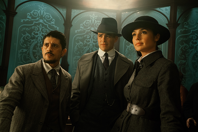 Saïd Taghmaoui as Sameer, Chris Pine as Steve Trevor and Gal Gadot as Diana Prince (aka Wonder Woman).