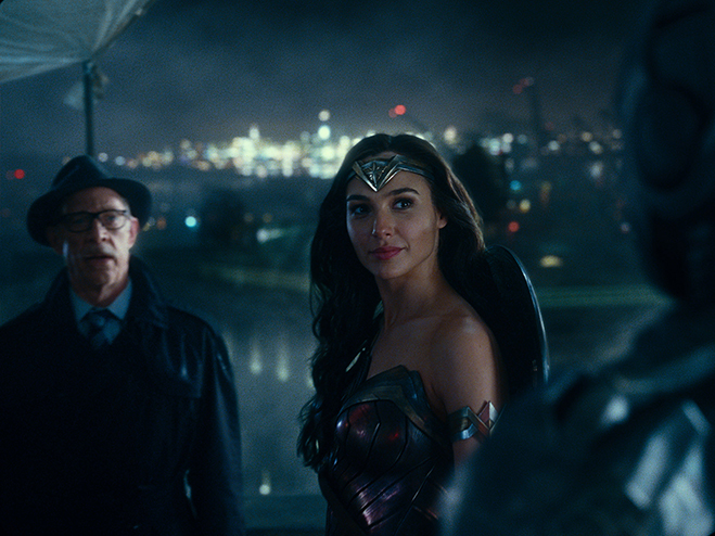 J.K. Simmons as Commissioner Gordon and Gal Gadot as Wonder Woman.