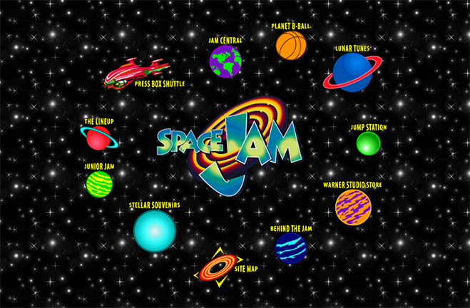 photo of the original 1996 space jam website