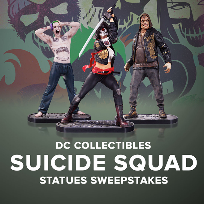 suicide squad statues sweepstakes ends august 26
