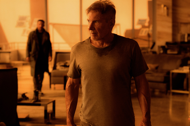 "RYAN GOSLING as K and HARRISON FORD as Rick Deckard in Alcon Entertainment's sci fi thriller ""BLADE RUNNER 2049,"" a Warner Bros. Pictures and Sony Pictures Entertainment release, domestic distribution by Warner Bros. Pictures and international distributio"