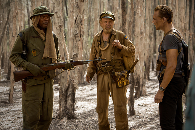 Samuel L. Jackson, John C. Reilly and Tom Hiddleston square off in Kong: Skull Island