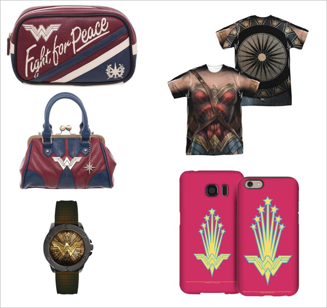 a small selection of wonder woman merchandise