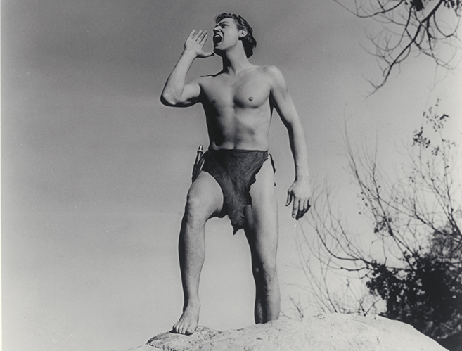 johnny weissmuller lets out the now-iconic Tarzan yell in Tarzan and His Mate.